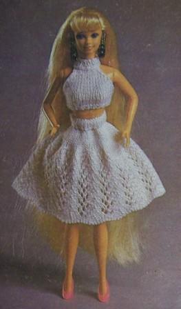 Как связать юбку и кофточку-майку для куклы Барби