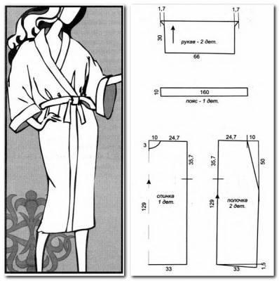 А вот и выкройка халата-кимоно